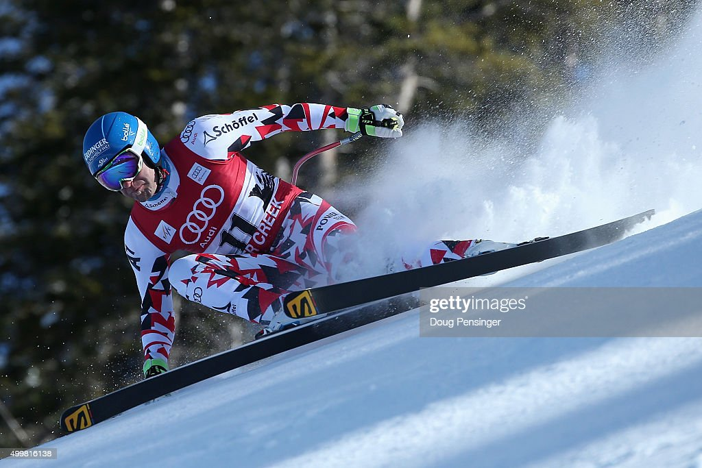 Romed Baumann of Austria descends the course during downhill training for the Audi FIS Ski World Cup on the Birds of Prey on December 3 2015 in...