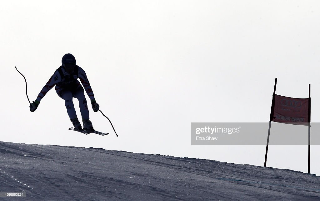 Romed Baumann of Austria descends the course during men's downhill training for the Audi FIS World Cup on the Birds of Prey on December 3 2014 in...