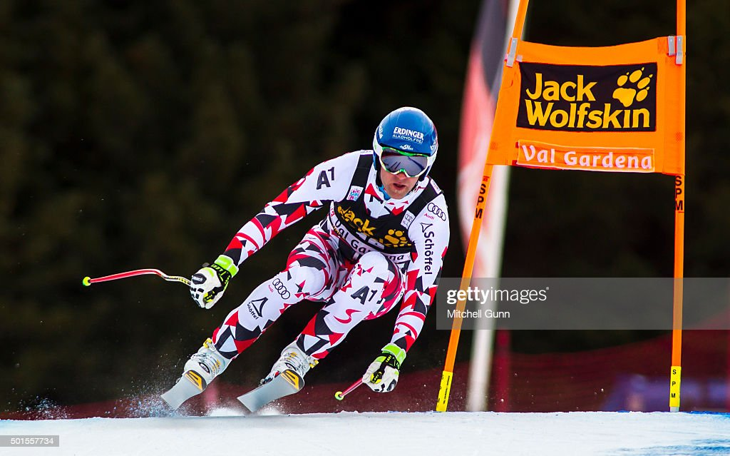 Romed Baumann of Austria during the training run for the Audi FIS Alpine Ski World Cup Downhill race on December 16 2015 in Val Gardena Italy
