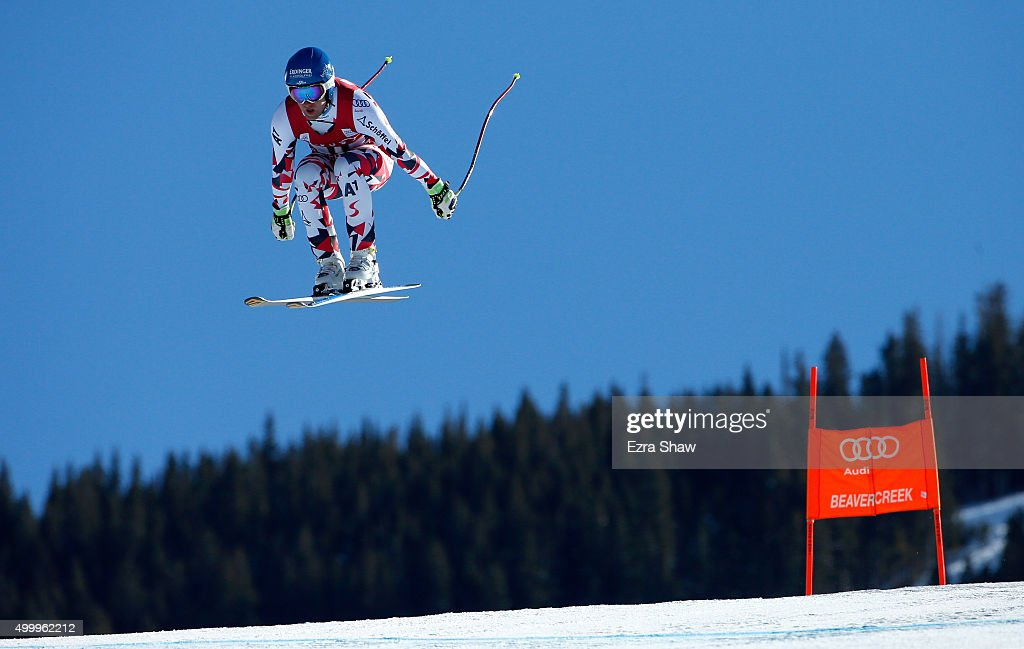 Romed Baumann of Austria goes over the Red Tail jump during the Audi FIS Ski World Cup downhill race on the Birds of Prey on December 4 2015 in...