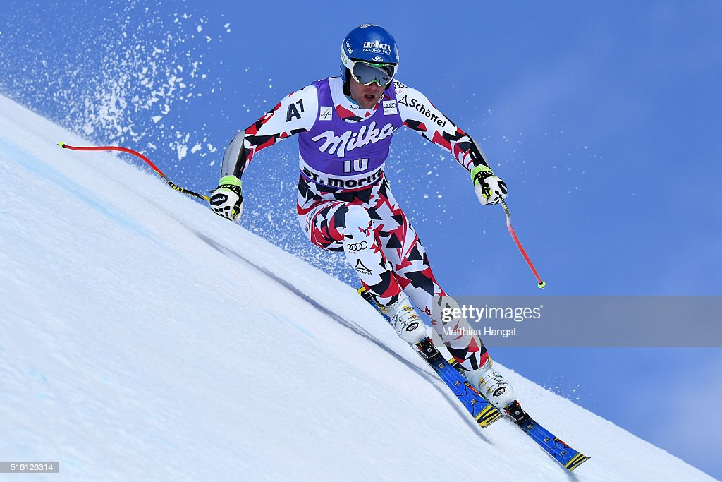 Romed Baumann of Austria in action during the the Audi FIS Alpine Ski World Cup Finals Men's and Women's Super G on March 17 2016 in St Moritz...