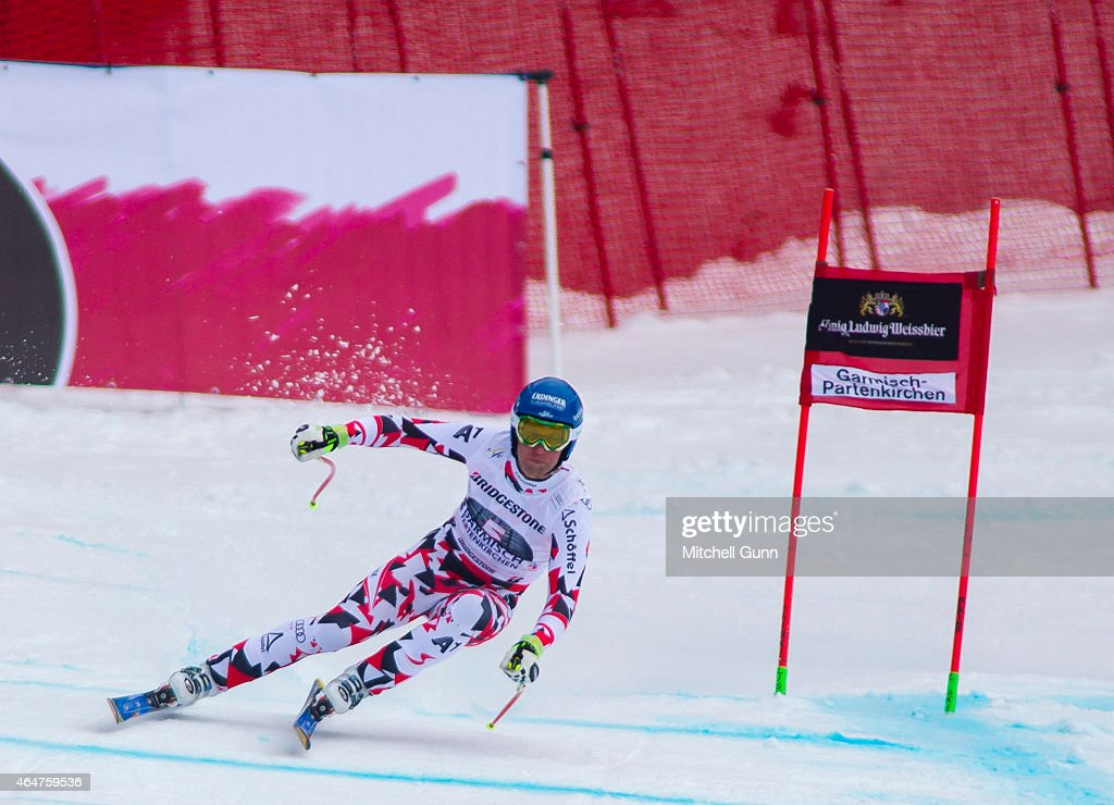 Romed Baumann of Austria races down the Kandahar course during the Audi FIS Alpine Ski World Cup Downhill race on February 28 2015 in...