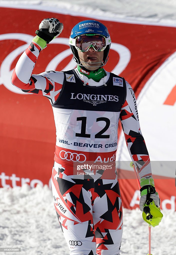 Romed Baumann of Austria reacts after crossing the finish of the Men's Alpine Combined Slalom run in Red Tail Stadium on Day 7 of the 2015 FIS Alpine...