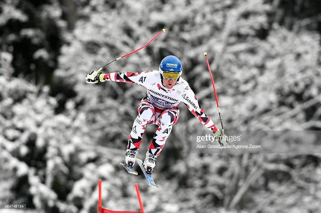 Romed Baumann of Austria takes 2nd place during the Audi FIS Alpine Ski World Cup Men's Downhill on February 28 2015 in GarmischPartenkirchen Germany
