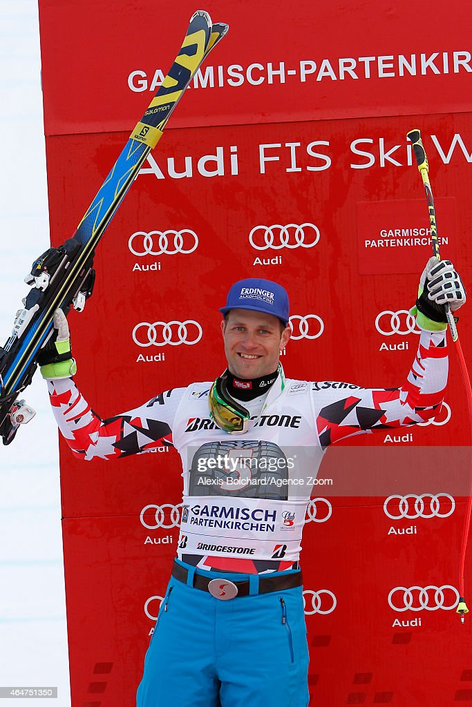 Romed Baumann of Austria takes the 2nd place during the Audi FIS Alpine Ski World Cup Men's Downhill on February 28 2015 in GarmischPartenkirchen...