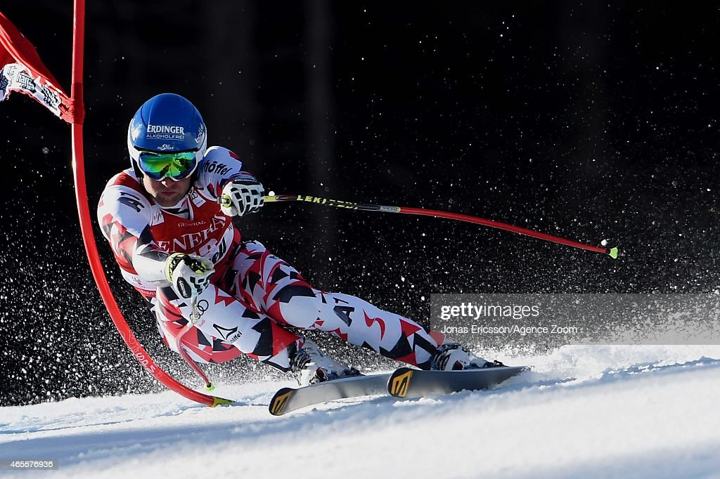 Romed Baumann of Austriacompetes during the Audi FIS Alpine Ski World Cup Men's Super G on March 08 2015 in Kvitfjell Norway
