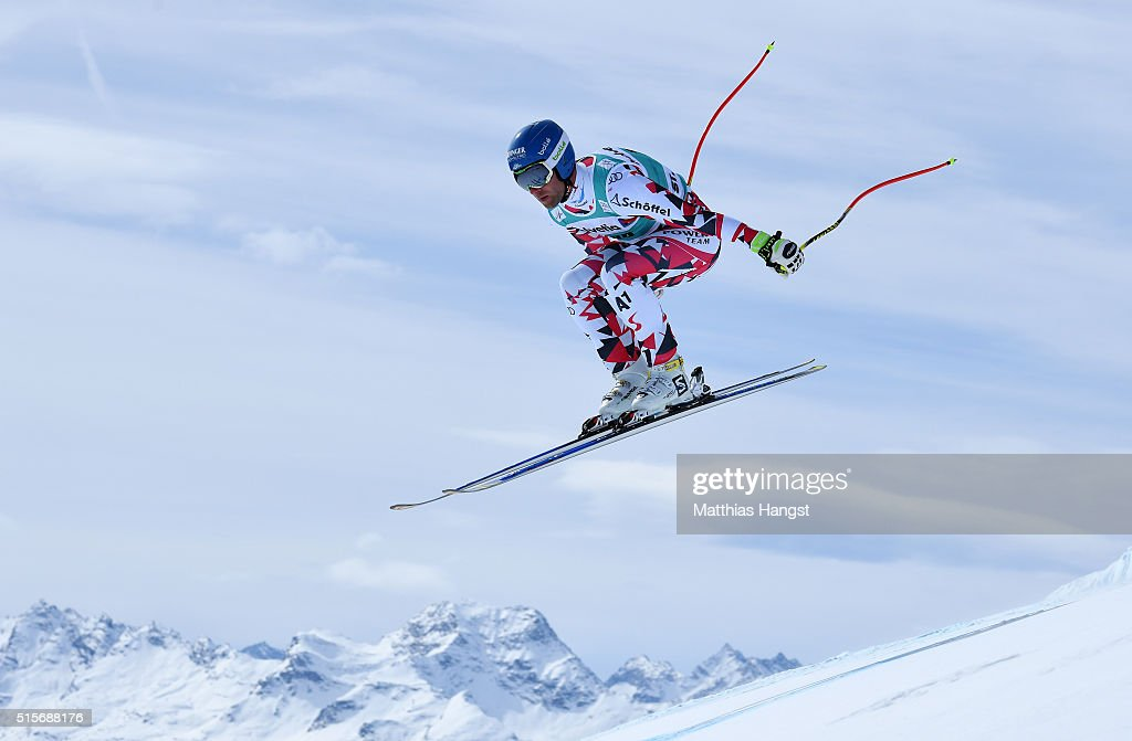 Romed Baumann of Autria in action during the Audi FIS Alpine Skiing World Cup downhill training on March 15 2016 in St Moritz Switzerland