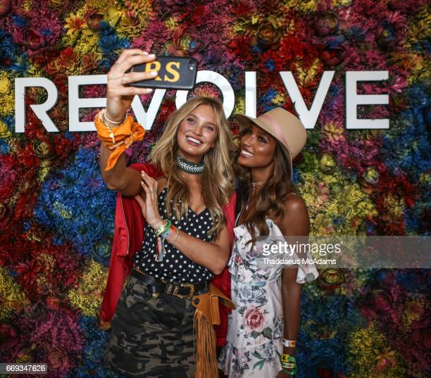 Romee Strijd and Jasmine Tookes arrive at the REVOLVE Desert House during Coachella on April 15 2017 in Palm Springs California on April 15 2017 in...