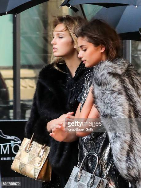 Romee Strijd and Taylor Hill are seen on June 09 2017 in New York City