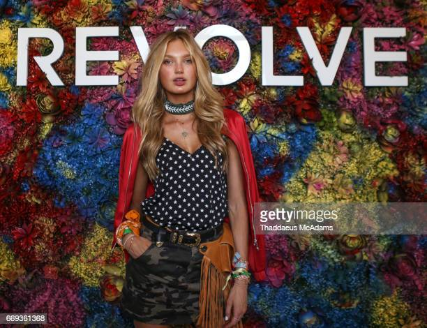Romee Strijd arrives at the REVOLVE Desert House during Coachella on April 15 2017 in Palm Springs California on April 15 2017 in Palm Springs...