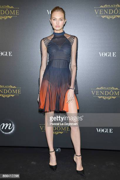 Romee Strijd attends the Irving Penn Exhibition Private Viewing Hosted by Vogue as part of the Paris Fashion Week Womenswear Spring/Summer 2018 on...