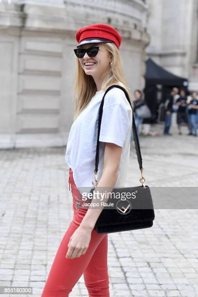 Romee Strijd is seen arriving at Balmain fashion show during the Paris Fashion Week Womenswear Spring/Summer 2018 on September 28 2017 in Paris France