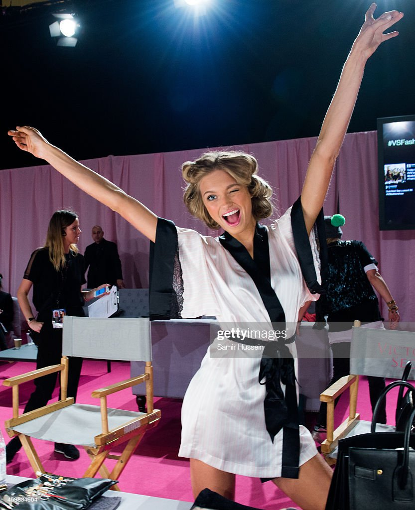 Romee Strijd poses backstage at the annual Victoria's Secret fashion show at Earls Court on December 2, 2014 in London, England.