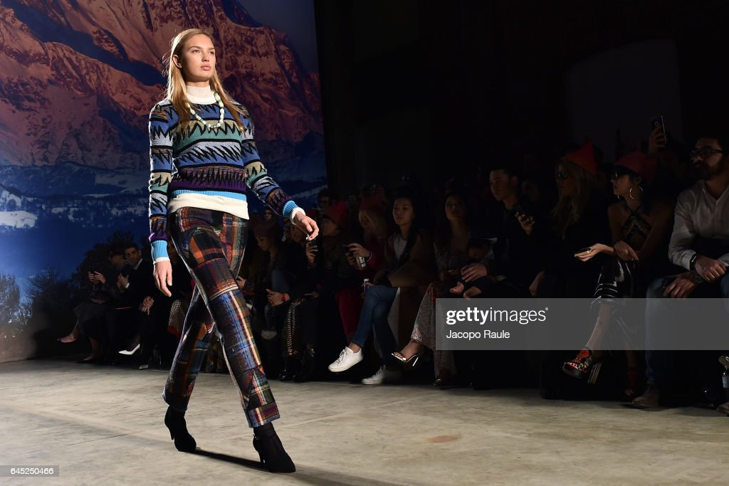 Romee Strijd walks the runway at the Missoni show during Milan Fashion Week Fall/Winter 2017/18 on February 25, 2017 in Milan, Italy.
