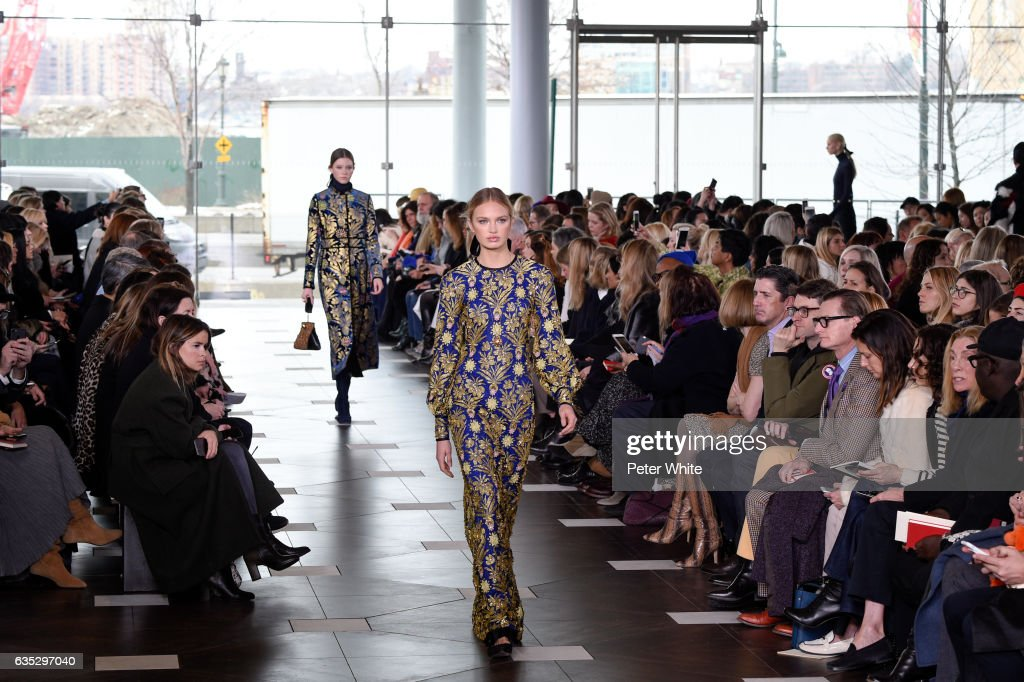 Romee Strijd walks the runway at the Tory Burch FW17 Show during New York Fashion Week at at The Whitney Museum of American Art on February 14, 2017 in New York City.