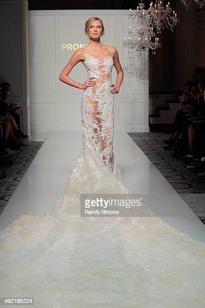 Romee Strijd walks the runway during the Pronovias Bridal Fall/Winter 2016 Fashion Show on October 10 2015 in New York City