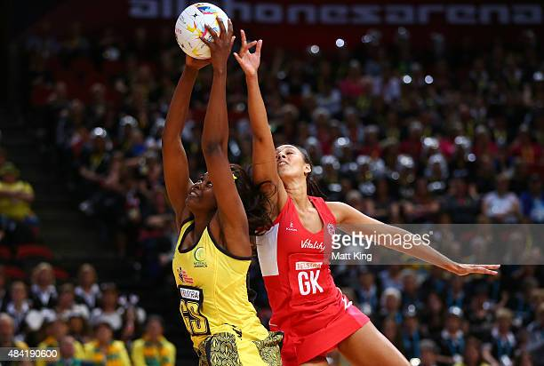 Romelda Aiken of Jamaica is challenged by Geva Mentor of England during the 2015 Netball World Cup Bronze Medal match between England and Jamaica at...