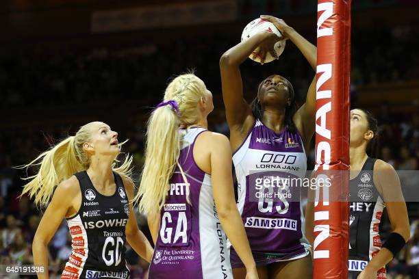 Romelda Aiken of the Firebirds shoots during the round two Super Netball match between the Queensland Firebirds and the Collingwood Magpies at...