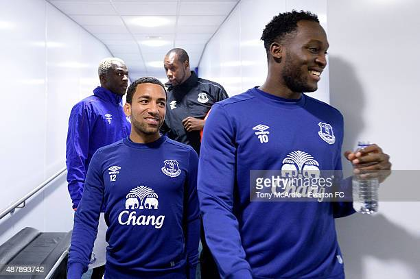 Romelu Lukaku Aaron Lennon and Arouna Kone of Everton before the Barclays Premier League match between Everton and Chelsea at Goodison Park on...