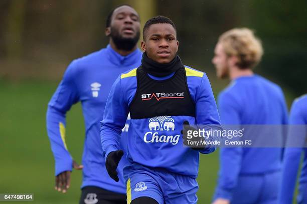 Romelu Lukaku and Ademola Lookman during the Everton FC training session at USM Finch Farm on March 3 2017 in Halewood England