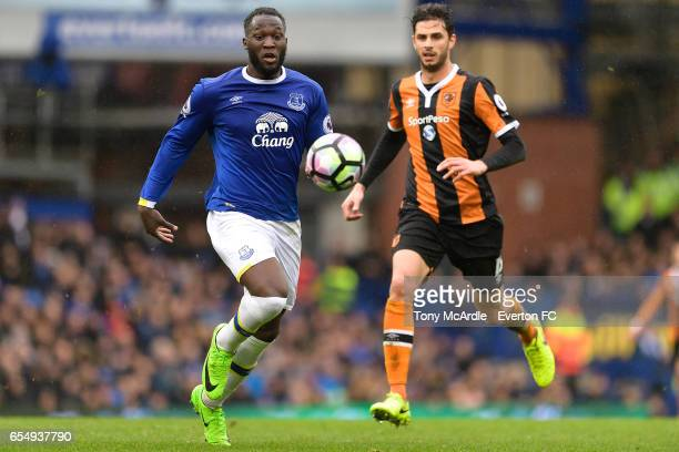 Romelu Lukaku and Andrea Ranocchia during the Premier League match between Everton and Hull City at the Goodison Park on March 18 2017 in Liverpool...