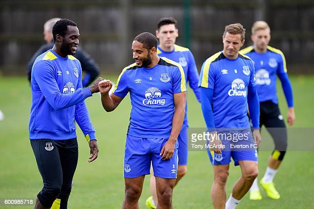 Romelu Lukaku and Ashley Williams during the Everton FC training session at Finch Farm on September 8 2016 in Halewood England