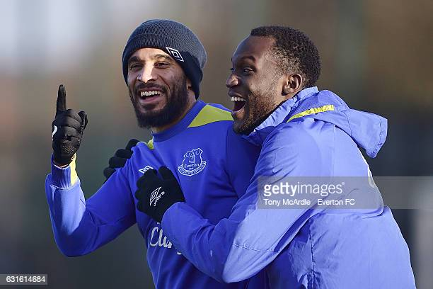 Romelu Lukaku and Ashley Williams during the Everton FC training session at Finch Farm on January 13 2017 in Halewood England