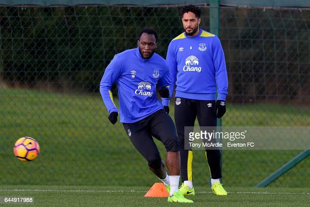 Romelu Lukaku and Ashley Williams during the Everton FC training session at USM Finch Farm on February 24 2017 in Halewood England