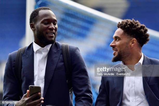 Romelu Lukaku and Ashley Williams of Everton arrive before the Premier League match between Everton and Chelsea at the Goodison Park on April 30 2017...