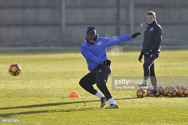 Romelu Lukaku and Erwin Koeman during the Everton FC training session at Finch Farm on January 5 2017 in Halewood England