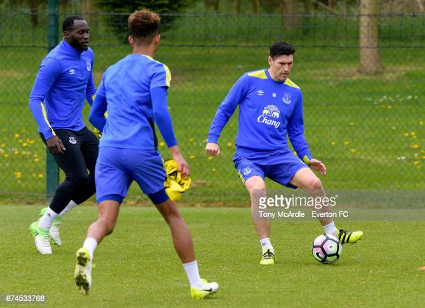 Romelu Lukaku and Gareth Barry during the Everton FC training session at USM Finch Farm on April 28 2017 in Halewood England