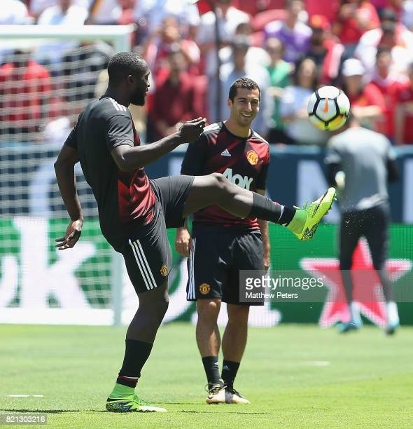Romelu Lukaku and Henrikh Mkhitaryan of Manchester United warm up ahead of the International Champions Cup 2017 preseason friendly match between Real...