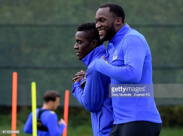 Romelu Lukaku and Idrissa Gueye during the Everton FC training session at USM Finch Farm on April 28 2017 in Halewood England