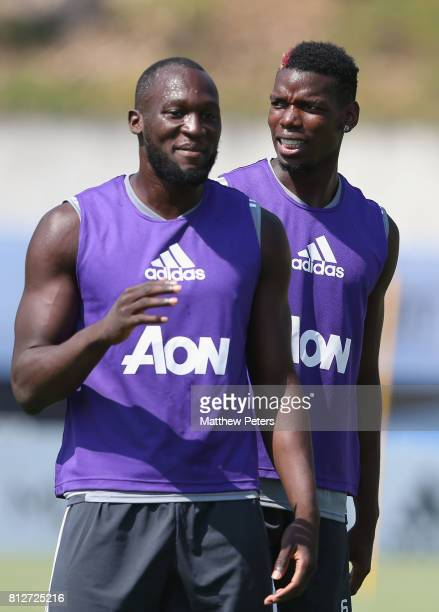 Romelu Lukaku and Paul Pogba of Manchester United in action during a first team training session as part of the club's preseason tour of the USA at...