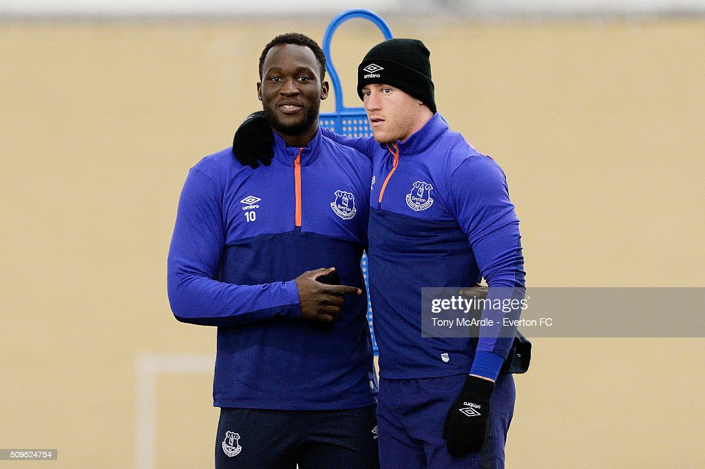 Romelu Lukaku and Ross Barkley during the Everton training session at Finch Farm on February 11, 2016 in Halewood, England.