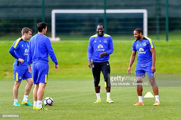 Romelu Lukaku Ashley Williams and Seamus Coleman during the Everton FC training session at Finch Farm on September 8 2016 in Halewood England