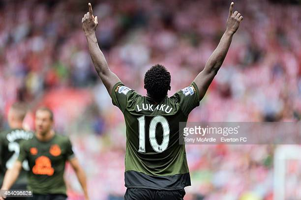 Romelu Lukaku celebrates after scoring his second goal during the Barclays Premier League match between Southampton and Everton at St Mary's Stadium...
