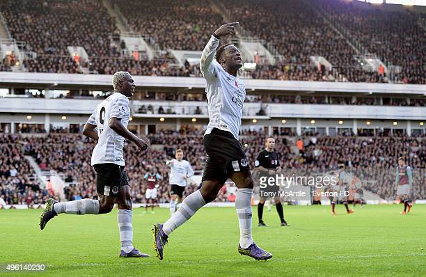 Romelu Lukaku celebrates his goal during the Barclays Premier League match between West Ham United and Everton at Boleyn Ground on November 7 2015 in...