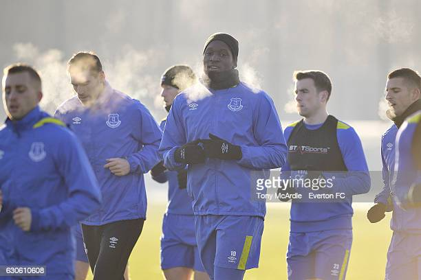 Romelu Lukaku during the Everton FC training session at Finch Farm on December 28 2016 in Halewood England