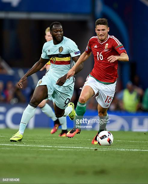 Romelu Lukaku forward of Belgium and Adam Pinter defender of Hungary during the UEFA EURO 2016 Round of 16 match between Hungary and Belgium at the...
