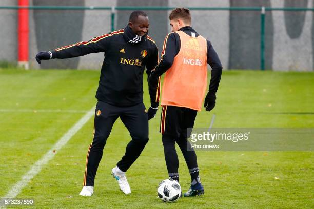 Romelu Lukaku forward of Belgium and Adnan Januzaj midfielder of Belgium picture during the press conference and training session of the Red Devils...