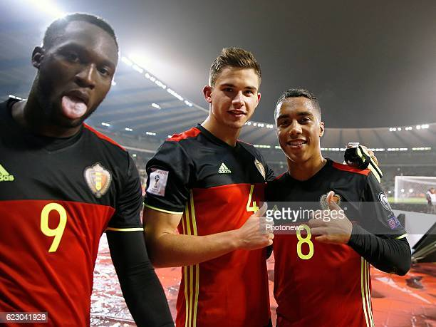 Romelu Lukaku forward of Belgium and Leander Dendoncker midfielder of Belgium and Youri Tielemans midfielder of Belgium team of Belgium celebrates...