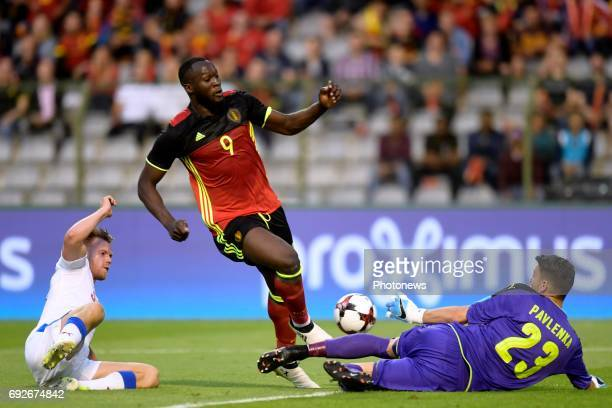 Romelu Lukaku forward of Belgium battles for the ball with Jiri Pavlenka goalkeeper of Czech Republic and Tomas Kalas defender of Czech Republic...
