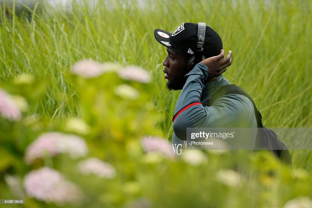 Romelu Lukaku forward of Belgium before a closed training session of the National Soccer Team of Belgium as part of the preparation prior to the UEFA EURO 2016 quarter final match between Wales and Belgium at the Chateau de Haillan training center on June 29, 2016 in Bordeaux, France ,