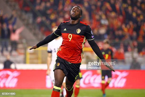 Romelu Lukaku forward of Belgium celebrates during the World Cup Qualifier Group H match between Belgium and Estonia at the King Baudouin Stadium on...