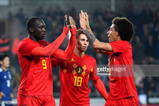 Romelu Lukaku forward of Belgium celebrates scoring the opening goal with Axel Witsel midfielder of Belgium during the World Cup Friendly Preparation...