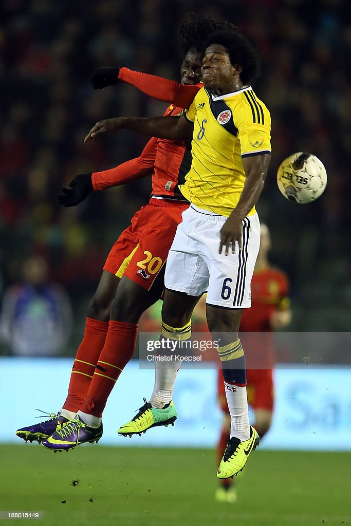 <a gi-track='captionPersonalityLinkClicked' href=/galleries/search?phrase=Romelu+Lukaku&family=editorial&specificpeople=6342802 ng-click='$event.stopPropagation()'>Romelu Lukaku</a> of Belgium and Carlos Sanchez of Colombia go up for a header during the international friendly match between Belgium and Colombia at King Badouin stadium on November 14, 2013 in Brussels, Belgium.