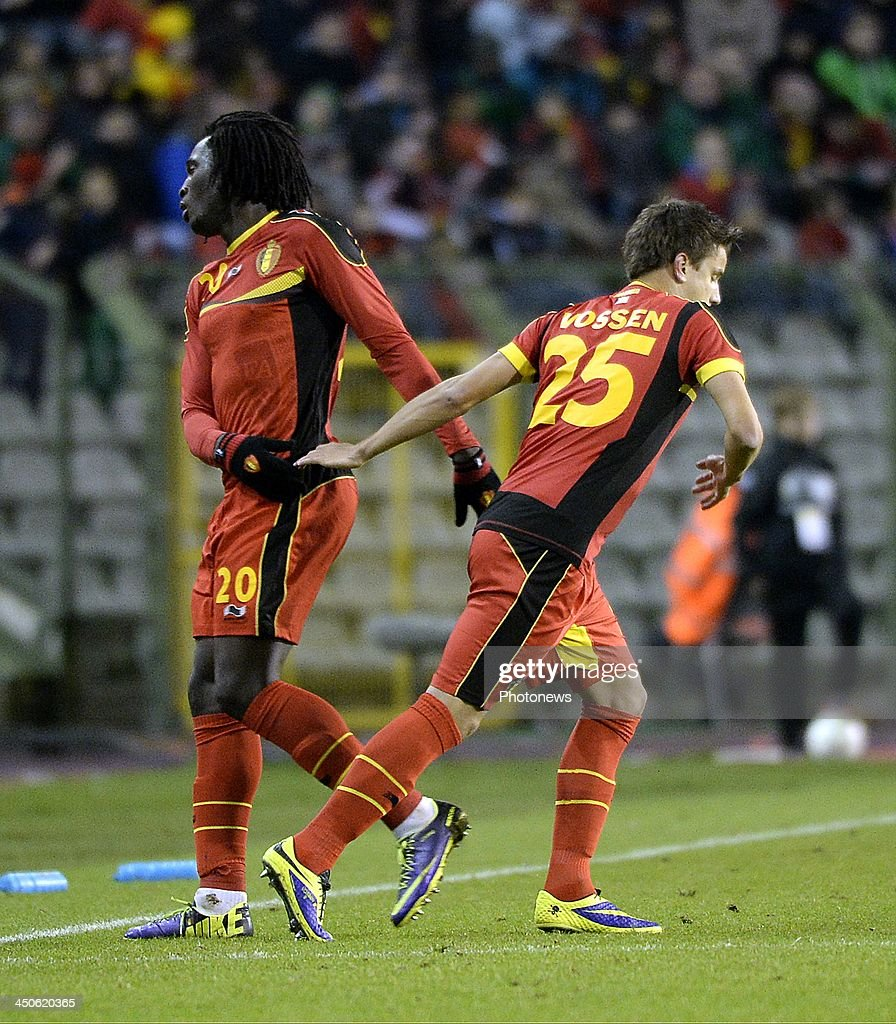 Romelu Lukaku of Belgium and Jelle Vossen pictured during the international friendly match before the World Cup in Brasil between Belgium and Japan on November 19, 2013 in Brussels, Belgium