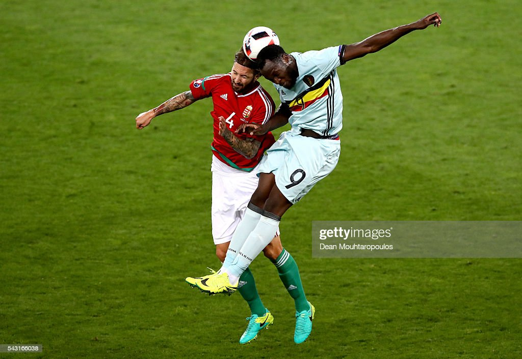 <a gi-track='captionPersonalityLinkClicked' href=/galleries/search?phrase=Romelu+Lukaku&family=editorial&specificpeople=6342802 ng-click='$event.stopPropagation()'>Romelu Lukaku</a> of Belgium and <a gi-track='captionPersonalityLinkClicked' href=/galleries/search?phrase=Tamas+Kadar&family=editorial&specificpeople=4958849 ng-click='$event.stopPropagation()'>Tamas Kadar</a> of Hungary compete for the ball during the UEFA EURO 2016 round of 16 match between Hungary and Belgium at Stadium Municipal on June 26, 2016 in Toulouse, France.