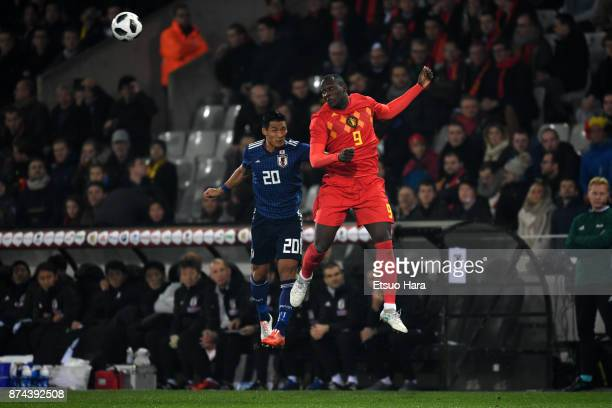 Romelu Lukaku of Belgium and Tomoaki Makino of Japan compete for the ball during the international friendly match between Belgium and Japan at Jan...